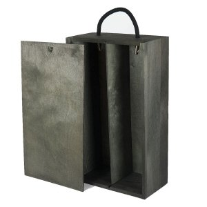 2 bottle grey wooden box